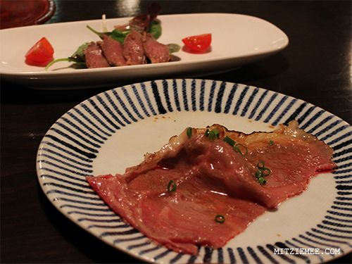 Appetizer at Gyu-An Kobe beef restaurant in Ginza, Tokyo
