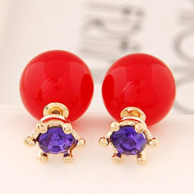 Double Pearl Earring purple with red! https://www.facebook.com/pages/Collares-y-Accesorios-Dazzling-Doll/865787360105631?ref=hl