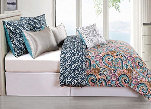 Park Avenue Collection Leanna 6Pc Reversible Oversized/Overfilled King Comforter Set /Indigo