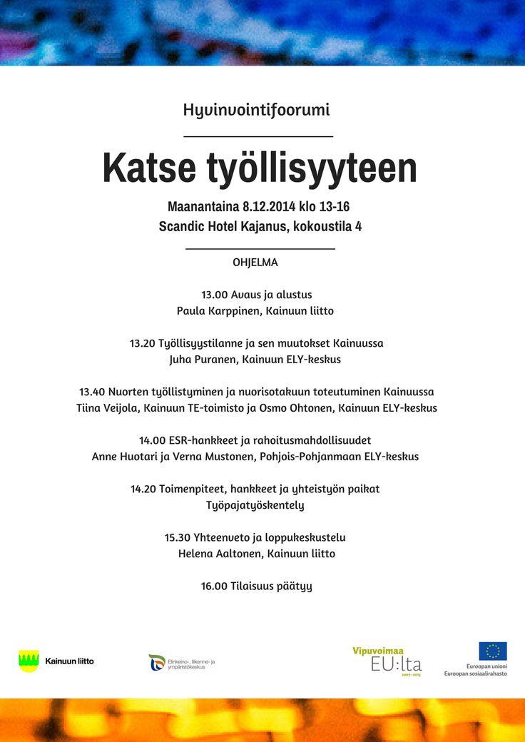 Hyvinvointifoorumi - Katse työllisyyteen 08.12.2014 ohjelma