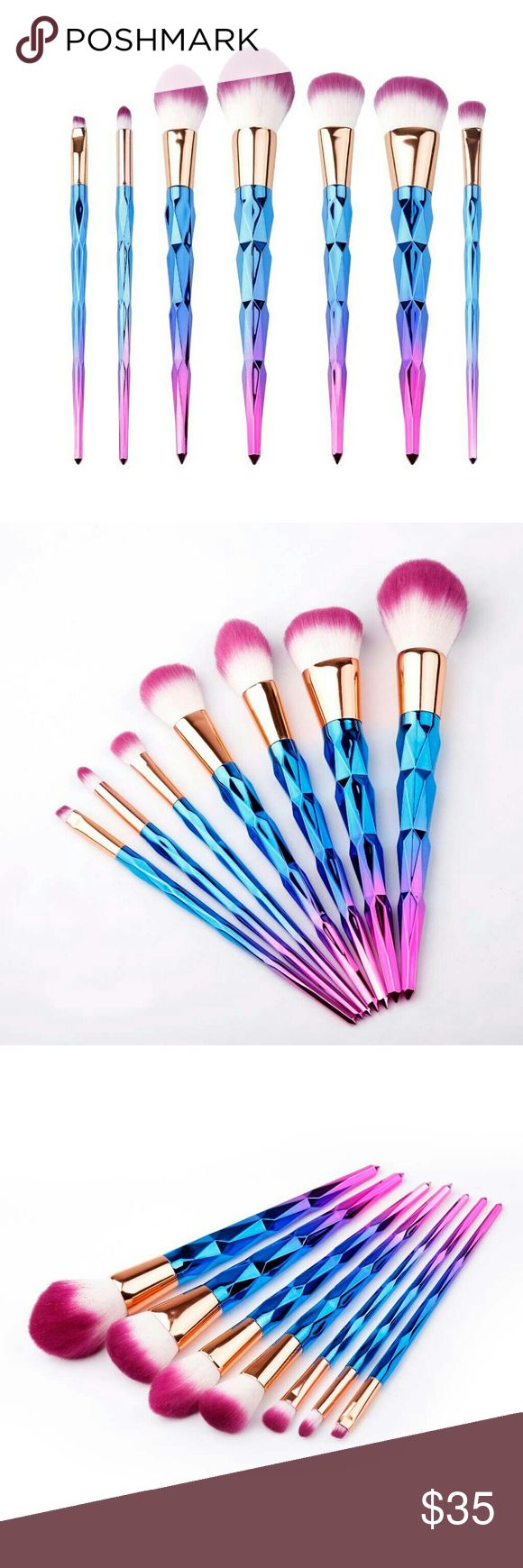 Unicorn Rainbow Makeup Brush Set Brand new rainbow unicorn makeup brush set...7 pc set for powder blush and eyeshadows. See boutique for more fashions and beauty. Day Dreams Cosmetics Makeup Brushes & Tools