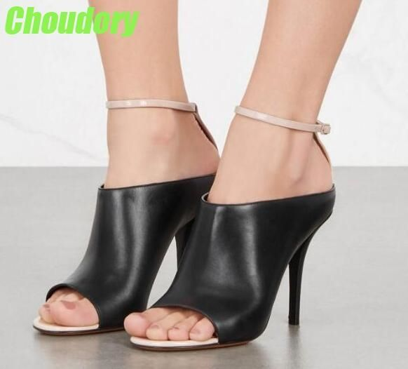 81.70$  Buy here - http://ali3oc.shopchina.info/1/go.php?t=32796195629 - Classic Style Black Leather Women Open Toe Sandals Nude Leather Ankle Buckle Ladies Sexy High Heels Female Cutout Party Shoes  #magazineonline