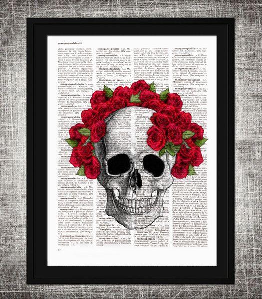 Teschio illustrazione, pagina dizionario, #020 di laura emotional design su DaWanda.com