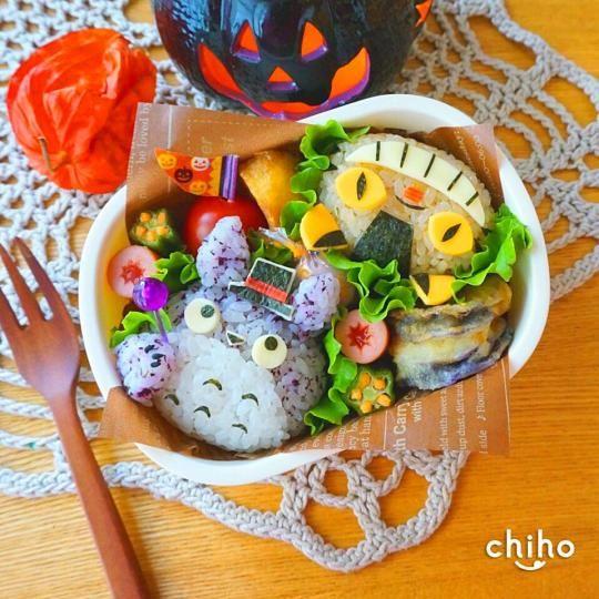 Totoro and cat bus bento