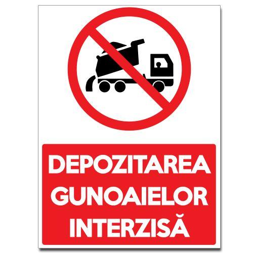 Indicator Depozitarea gunoaielor interzisa    Indicator care interzice aruncarea gunoaielor intr-o anumita zona. Mesajul este insotit de un camion care rastoarna material sub un cerc rosu taiat.  Indicatorul este realizat din material Hipps.