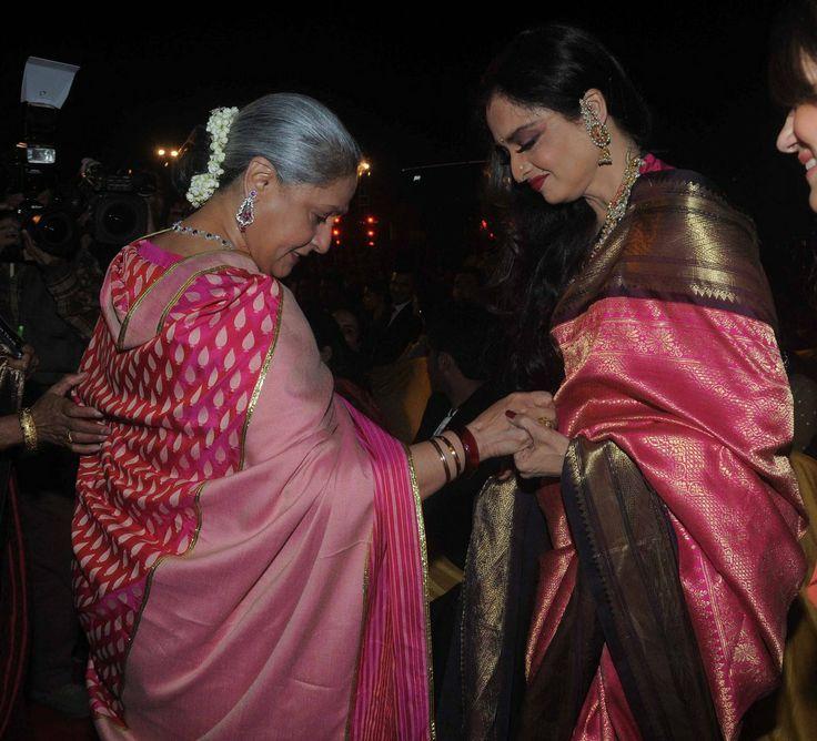 Actress Rekha in Pink Kancheepuram Saree