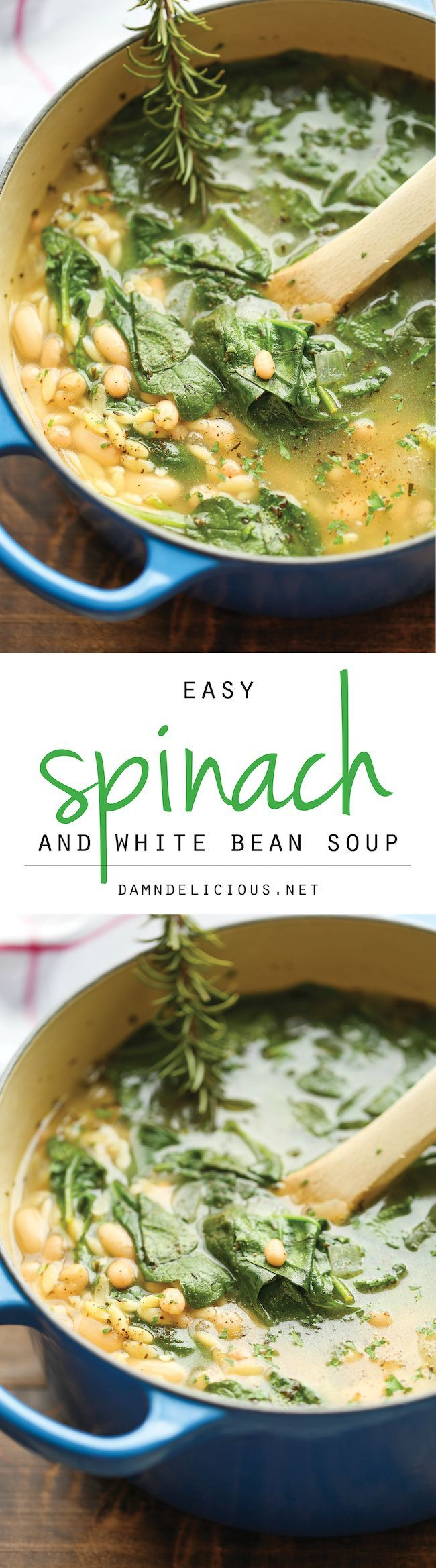 Spinach & White Bean Soup // healthy, hearty, comforting, make a big batch for meals, work lunches & snacks #protein