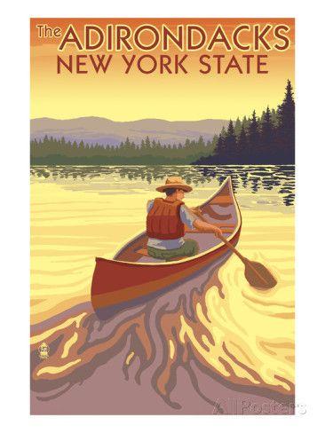 vintage posters of the adirondacks of new york | The Adirondacks, New York State - Canoe Scene Posters van Lantern ...