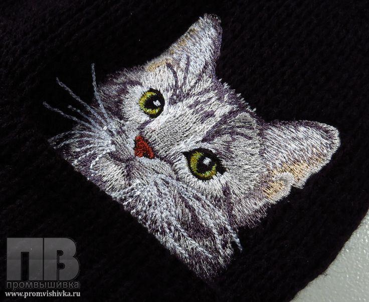 Купить вышивку кота на вязаном