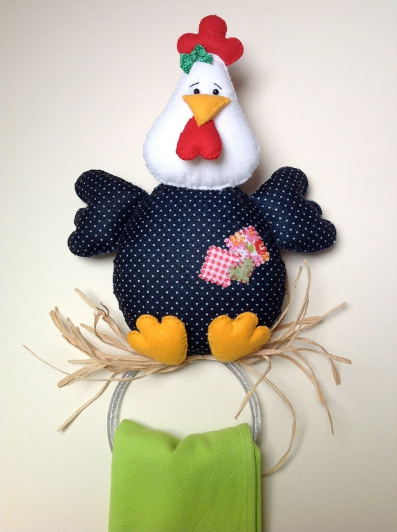 Felt Chicken Tea and Kitchen Hand Towel Holder by MyCottonHouse