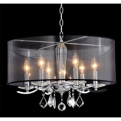 lustre suspendu avec abat jour en organza noir avec chandelier au luminaire pinterest. Black Bedroom Furniture Sets. Home Design Ideas