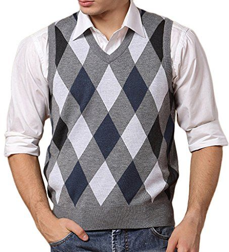 Wantdo Men's Argyle Plaid Sweater Gilet US Large Blue & Grey  Argyle Plaid V-Neck Knitted Gilet  Soft fabric, high flexibility, lightweight, ribbed trim  Basic knit vest, perfect to match up with shirts  Machine Washable (Recommended Hand Wash)  Tag is for Asian size, we have converted it to US size