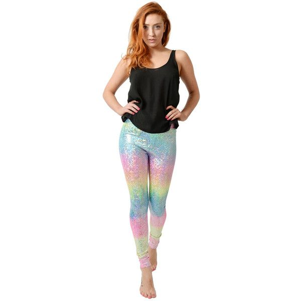 Tirade 13 Rainbow Pearl Leggings ($56) ❤ liked on Polyvore featuring pants, leggings, multicolour, holographic leggings, high-waisted pants, multi colored leggings, high waisted white pants and high rise leggings