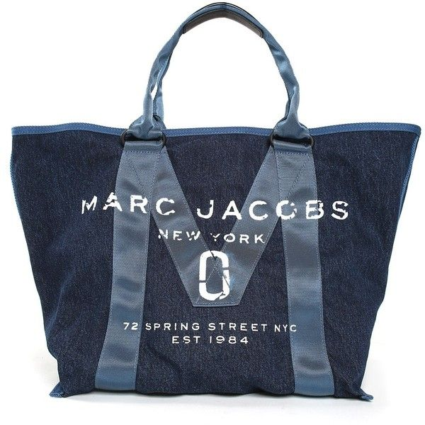Marc Jacobs  New Logo Cotton-Denim Tote Bag (£200) ❤ liked on Polyvore featuring bags, handbags, tote bags, blu, logo tote bags, marc jacobs tote bag, marc jacobs purse, blue tote bag and blue purse