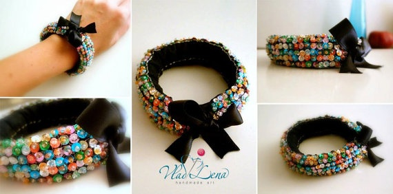 Knitted Bracelets KB 09 WINTER MOOD Set of 3 by Vladilenashandmade, $18.00