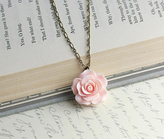 This is simply beautiful and romantic! This is a detailed ruffled petal rose pendant necklace in soft pale powder pink. This would be beautiful for br…