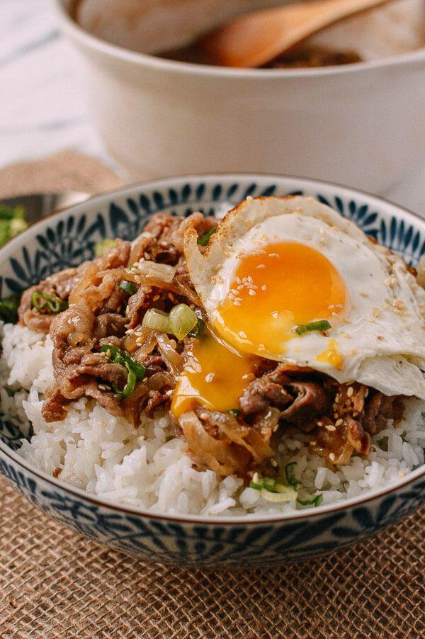 Gyudon (Japanese Beef & Rice Bowls), by thewoksoflife.com
