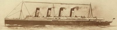 The Lusitania, sunk by a German submarine 7 May 1915