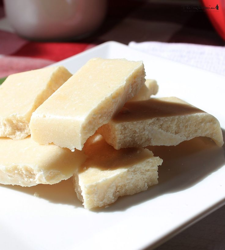 The Rawtarian: Raw white chocolate bars- Ingredients  3 cups dried, shredded coconut 1/4 cup maple syrup (or honey or agave nectar) 1 teaspoon pure vanilla extract 1/8 teaspoon sea salt - Process all until a moist mixture. Press into dish and freeze for 30+ minutes. <3