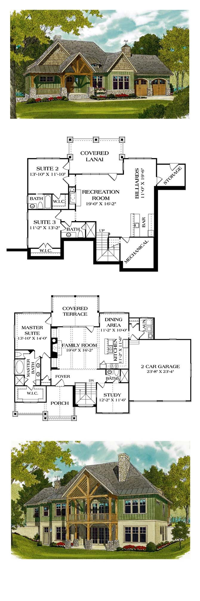 French Country House Plan 97044 | Total Living Area: 2764 sq. ft., 3 bedrooms and 4 bathrooms. #frenchcountryhome