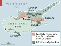 Map showing the land that was to be handed back from the Turks to the Greeks under a UN scheme.  Map also shows the British sovereign territory of Akrotiri and Dhekelia.