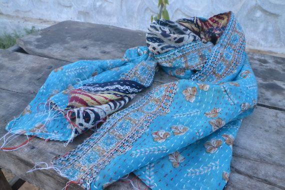 Batik-Schal Kantha Schals indische Tuch Jahrgang von saruche