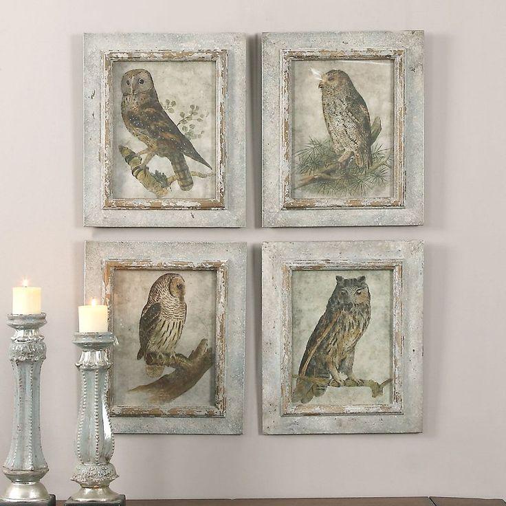 Uttermost Owls Framed Art - Set of 4 - 56061