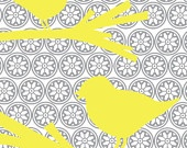 Yellow Birds on Gray Medallion Background 8x10 Art Print