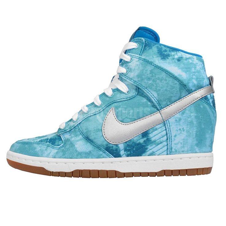Wmns Nike Dunk Sky Hi Print Tie Dye Blue Silver Womens Wedge Shoes 543258-402