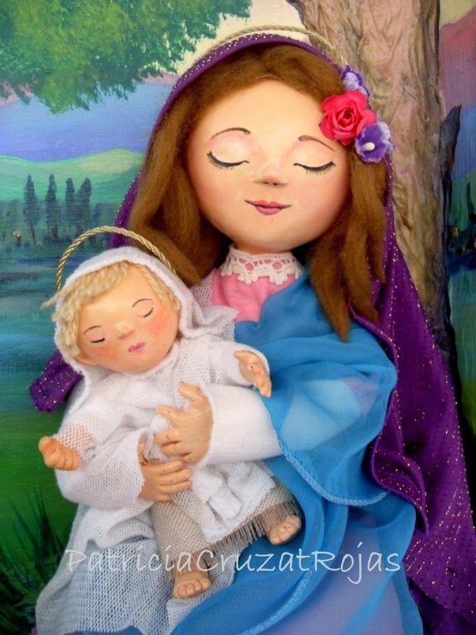 Patricia Cruzat Artesania y Color: La Virgen y el Niño, bajo un árbol con flores y dos ovejitas...y un paisaje...