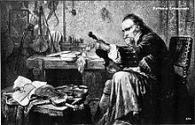 A romanticized print of Antonio Stradivari examining an instrument. No authentic portrait has been discovered.