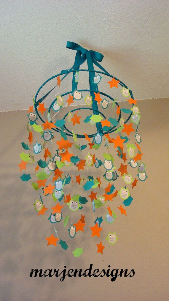 teal and green owl mobile, orange stars, crib mobile, nursery mobile, teen room decor, photo prop, wedding decor, owl decor, classroom decor on Etsy, $65.00