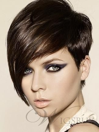 100% Human Hair 2013 New Arrival Medium Silky Straight Black Wig Making You More Cool
