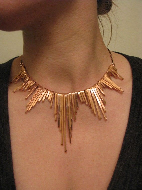 Egyptian-inspired tribal copper necklace.