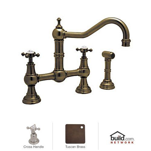 view the rohl u4755x2 perrin and rowe bridge kitchen faucet with side - Rohl Faucets