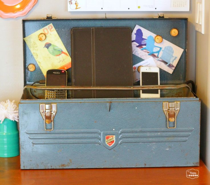 After: Charging Station --this or as a remote control organizer would be a neat way to use a vintage lunchbox, too.