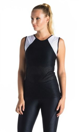 BrasilSul mesh singlet in black & white. Comfortable, stylish and fast drying this singlet is perfect for training, running, dancing & cool enough to wear out. NZ$69 http://www.divineyou.co.nz/product/brasilsul-mesh-singlet/