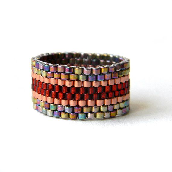 Wide band ring, peyote ring for her, women ring, ring band, seed bead jewelry, coctail ring, cuff ring, fashion ring, beaded ring beadwork