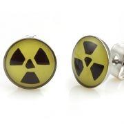 Trendy Stainless Steel Nuclear Symbol Stud Earrings for Men Black n Yellow