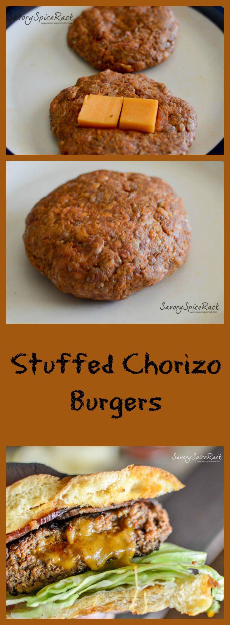 Stuffed Chorizo Burgers. Chorizo burgers seasoned with homemade cajun seasoning and stuffed with cheeses
