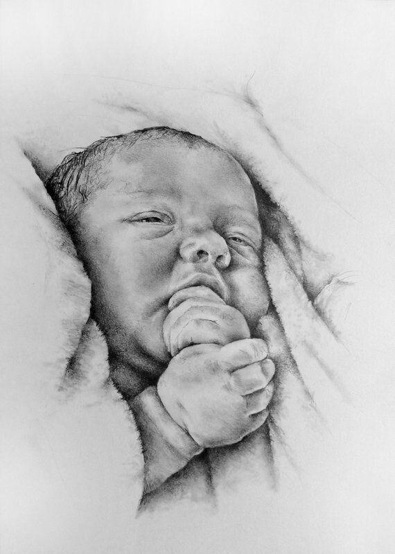 El Bebe Retrato Lapiz Dibujos Artisticos A Lapiz Dibujo De Retrato