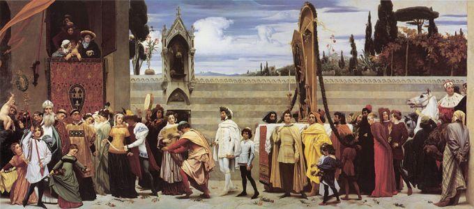 Фредерик Лейтон, «Чимабуэ, его друзья и ученики во Флоренции, провожающие образ Мадонны в церковь Санта Мария Новелла», 1854-55, 222.2 x 520.5, королева Виктория по совету принца Альберта приобрела работу Лейтона за колоссальную по тем временам сумму в 600 гиней. Это стало началом небывалого творческого взлета художника и его славы.