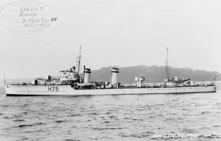 HMS Decoy(H75) a D class Destroyer laid down on 25/06/31 by Thorneycroft's of Southampton and commissioned on 04/04/33. Spent most of the pre war years on the China Station, transferring to the Mediterranean Fleet just before start of WW II. Participated in the Battles of Calabria and in the evacuation of Crete. Converted into an Escort Destroyer she was transferred to RCN and renamed HMCS Kootenay. Broken up in '46