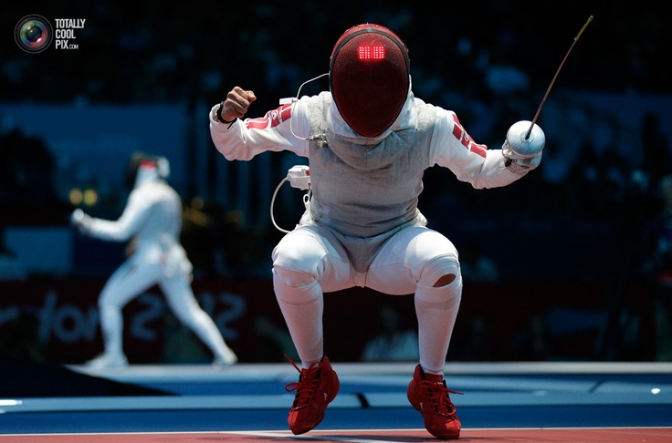 Tunisia's Boubakri celebrates winning against France's Guyart during their women's Individual Foil round of 16 fencing competition at the ExCel venue at the London 2012 Olympic Games. Max Rossi/REUTERS