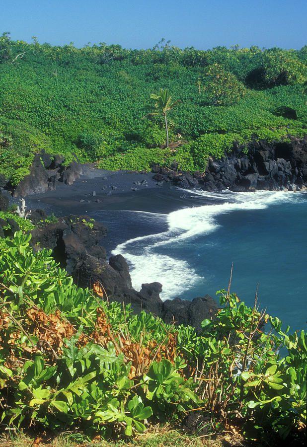 Black Sand Beach Hana Maui Hawaii. Maui. Wai'anapanapa State Park, Maui, Hawaii.