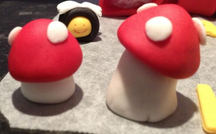 My Fondant Mushrooms and Bee