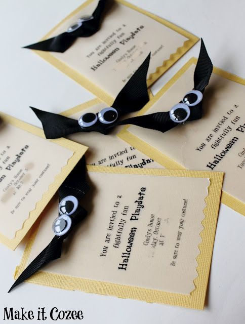 DIY easy Halloween bat invitations                                                                                                                                                     More