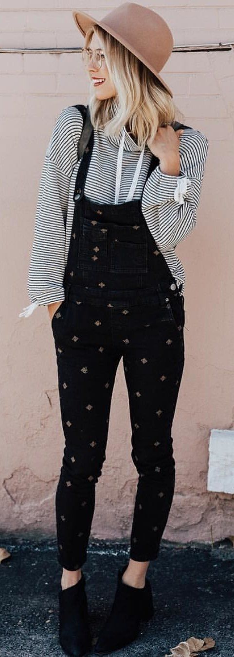 #winter #outfits black denim overalls; black-and-white striped sweater with infinity scarf || brimmed hat, casual outfit inspiration, hipster style, womens fashion, accessories, boho #hipsteroutfits