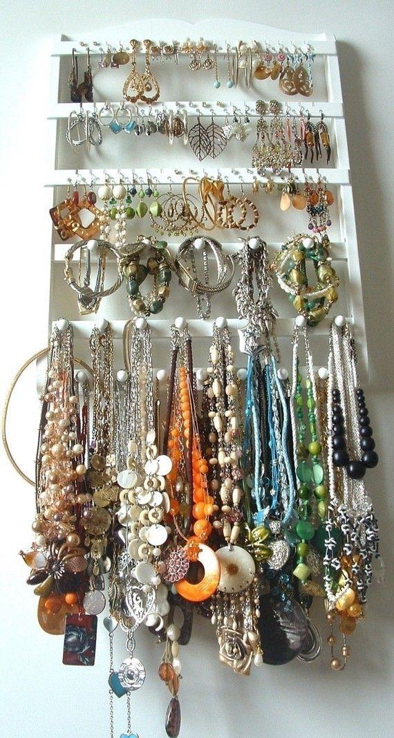 Jewelry Holder, 54-108 Pair Earring Organizer, 20 Peg Bracelet Necklace Display, Dark Mahogany, Oak, Wood, Wall Mounted, Jewelry Rack