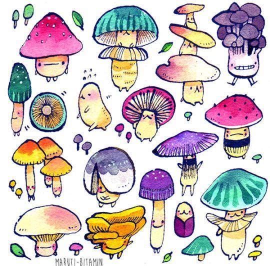 Colorfull forst mushroms :3